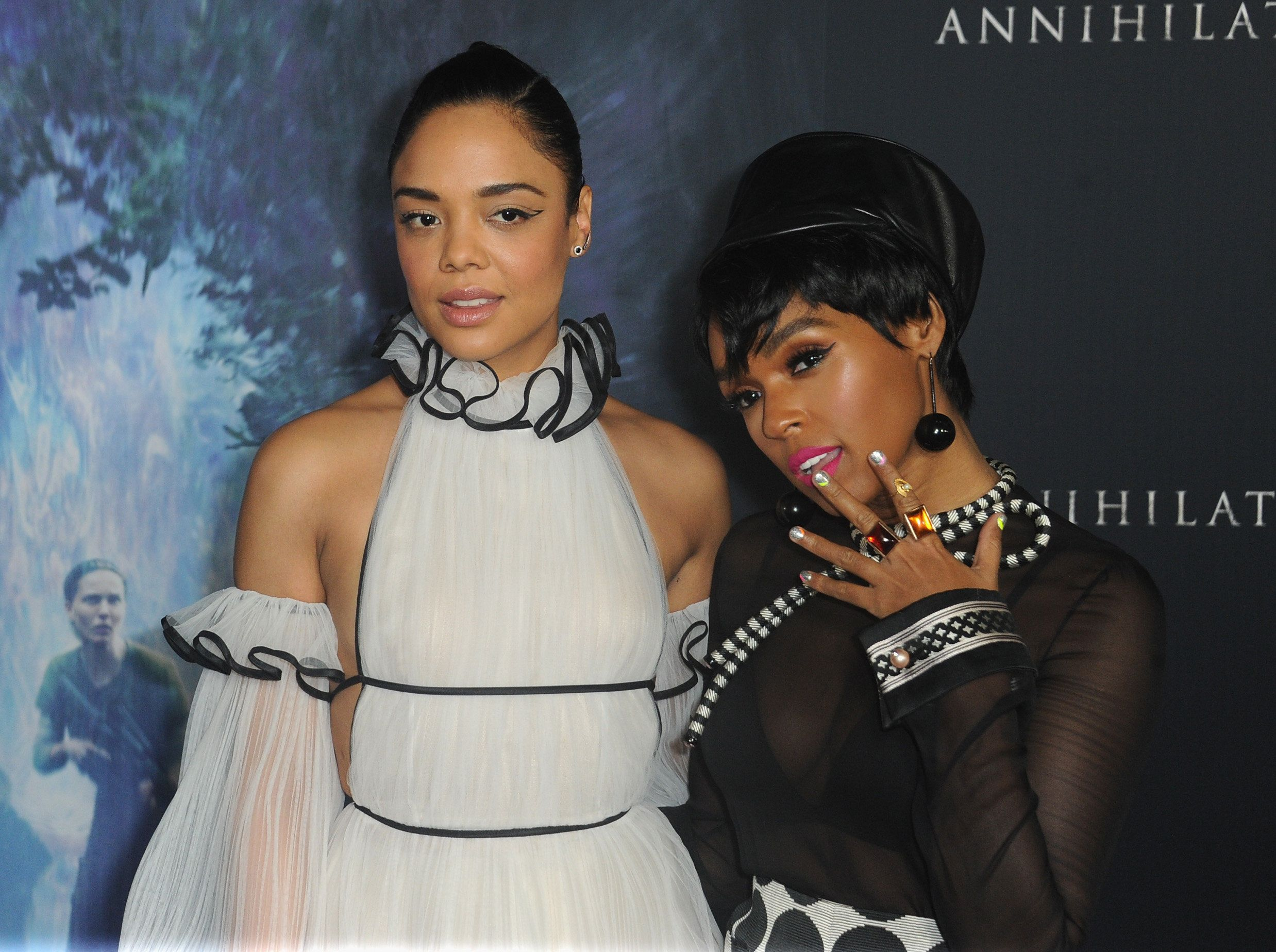 WESTWOOD, CA - FEBRUARY 13:  Actress Tessa Thompson and singer/actress Janelle Monae arrive for the Premiere Of Paramount Pictures' 'Annihilation' held at Regency Village Theatre on February 13, 2018 in Westwood, California.  (Photo by Albert L. Ortega/Getty Images)
