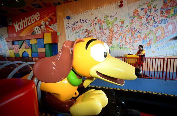 The rides offer a kid's take on Toy Story Land, such as the illustration visitors can see here while boardinga ride.