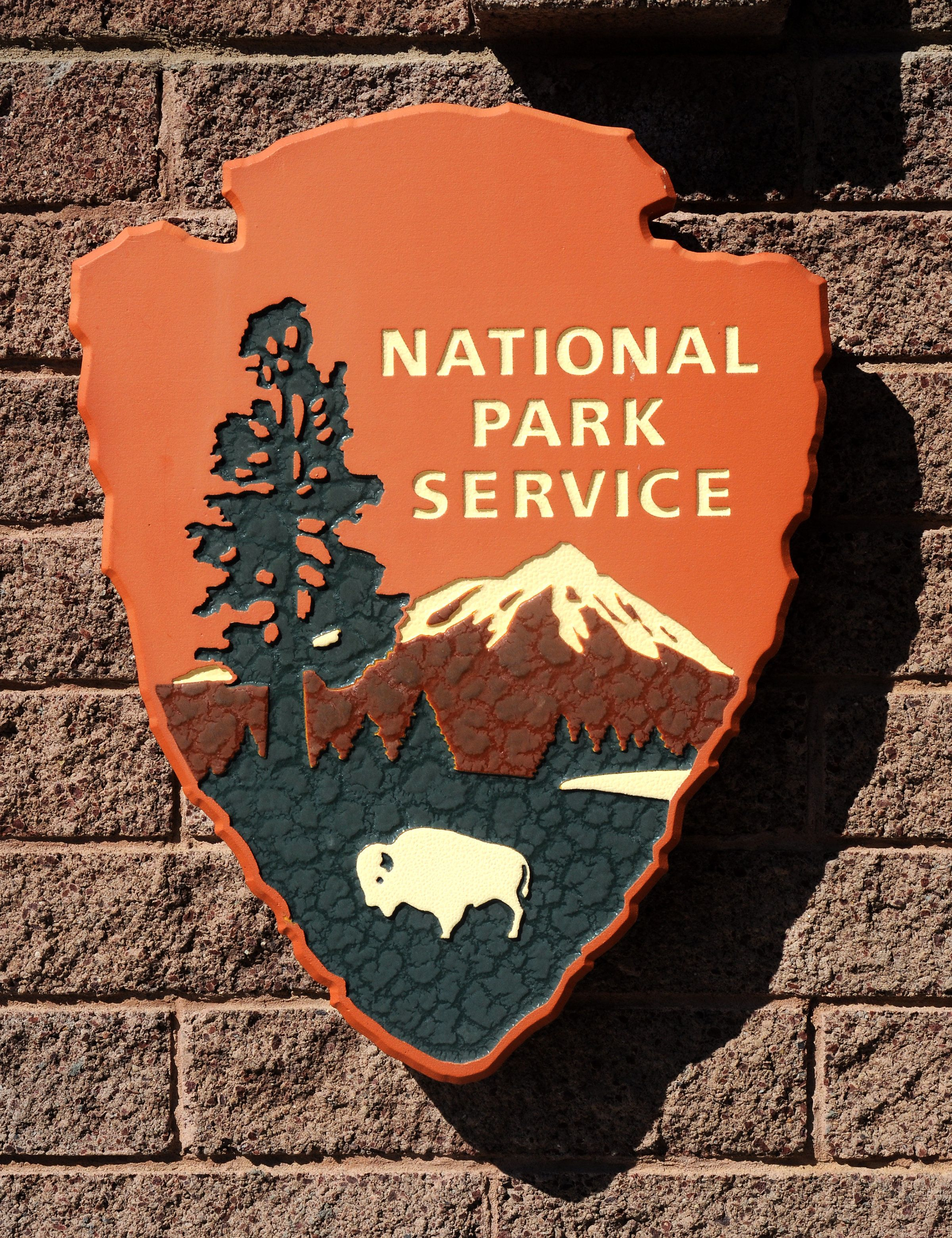 CHACO CULTURE NATIONAL HISTORICAL PARK, NM - MARCH 23, 2014: The National Park Service logo is emblazoned on a sign at the Visitor Center at Chaco Culture National Historical Park in Northwestern New Mexico. (Photo by Robert Alexander/Getty Images)