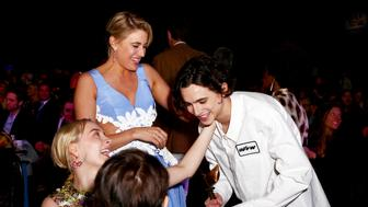 SANTA MONICA, CA - MARCH 03:  (L-R) Actor Saoirse Ronan and Writer/Director Greta Gerwig congratulate  actor Timothée Chalamet at the 2018 Film Independent Spirit Awards on March 3, 2018 in Santa Monica, California.  (Photo by Rich Fury/Getty Images)
