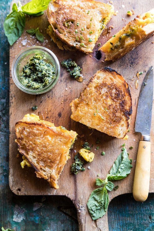 """<strong>Get the<a href=""""https://www.halfbakedharvest.com/breakfast-grilled-cheese/"""" target=""""_blank"""">Breakfast Grilled C"""