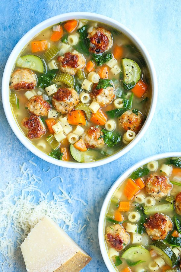 """<strong>Get the<a href=""""https://damndelicious.net/2018/06/18/summer-minestrone-with-turkey-meatballs/"""" target=""""_blank"""">"""