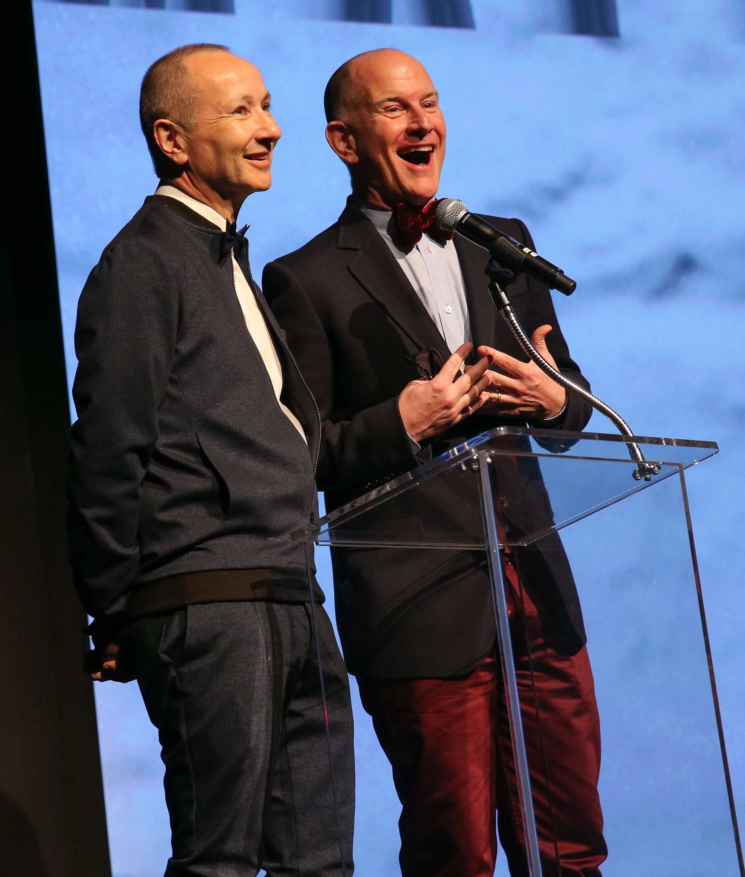 SEATTLE, WA - MARCH 15:  Director/Producer Fenton Bailey (L) and Director/Producer Randy Barbato speak onstage during the premiere of HBO Documentary Films' 'Mapplethorpe: Look At The Pictures' at the Bing Theatre At LACMA on March 15, 2016 in Los Angeles, California.  (Photo by FilmMagic/FilmMagic)