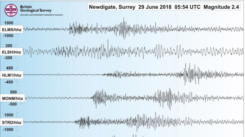 A graph from the British Geological Society showing the magnitude 2.4 tremor on Friday
