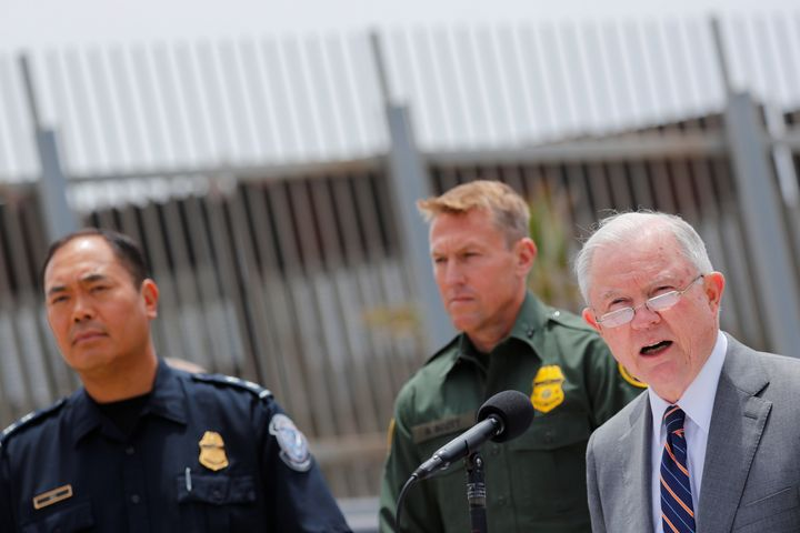 U.S. Attorney General Jeff Sessions holds a news conference next to the U.S.-Mexico border in San Diego to discuss immigratio
