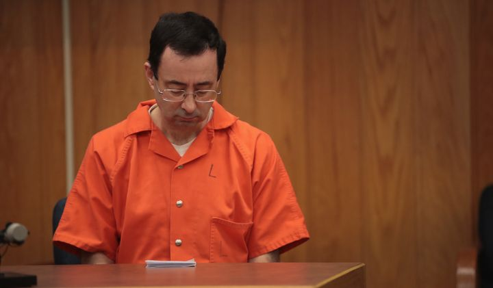 Larry Nassar sits in courtlistening to victim impact statements on Feb. 5, 2018.