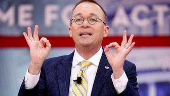 Director of the Office of Management and Budget Mick Mulvaney speaks at the Conservative Political Action Conference (CPAC) at National Harbor, Maryland, U.S., February 24, 2018.      REUTERS/Joshua Roberts