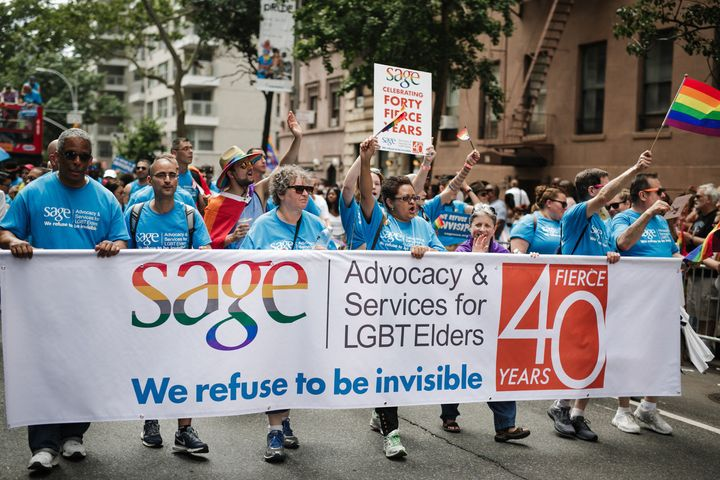 """Members of SAGE, which advocates for LGBTQ elders, marchin New York City's Pride parade on June 24. """"Our ri"""
