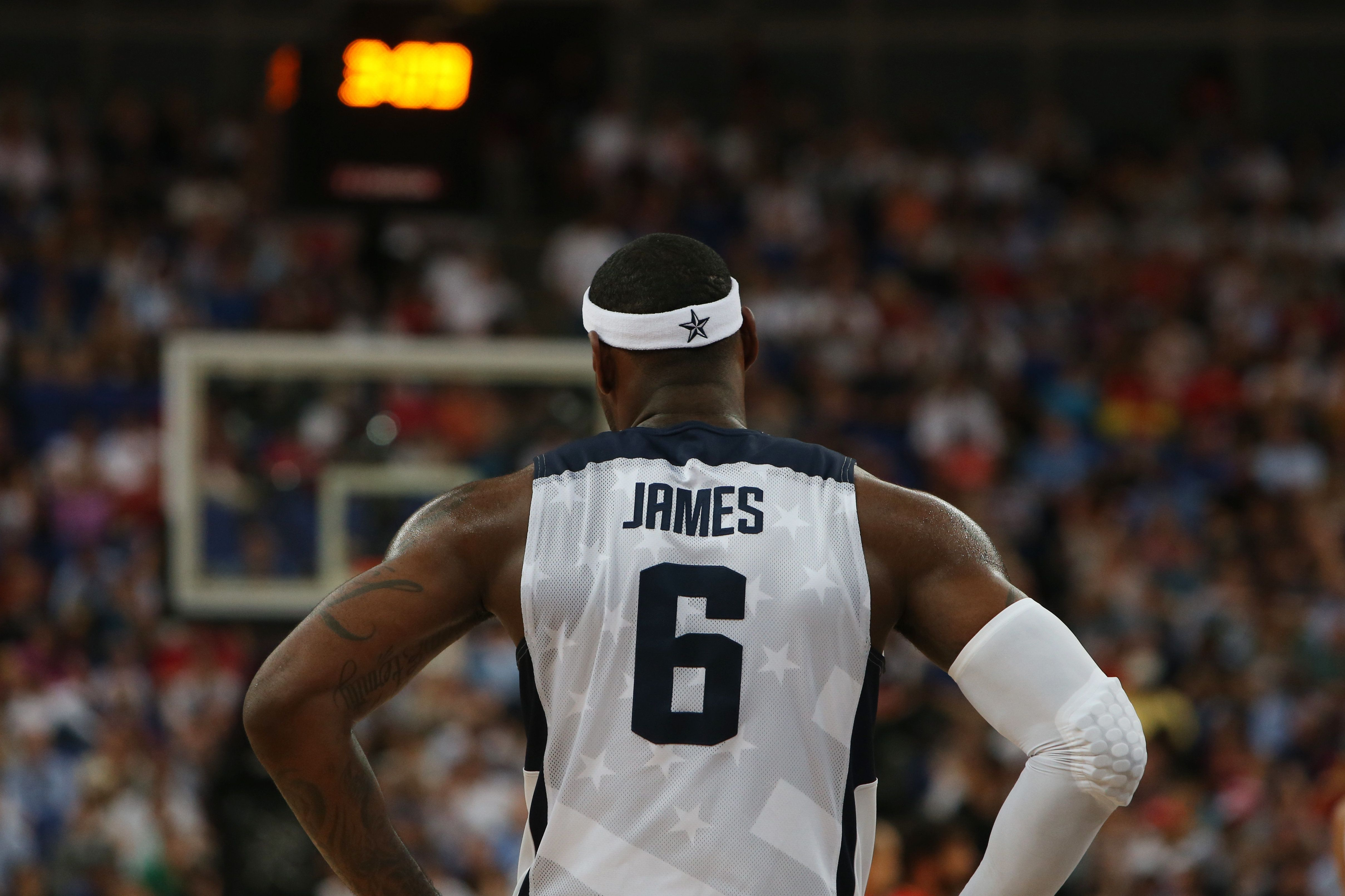 The USA's LeBron James during the Men's Basketball Final between USA and Spain at the North Greenwich Arena during the London 2012 Olympic games. London, UK. 12th August 2012. (Photo: Steve Christo) (Photo by Steve  Christo/Corbis via Getty Images)