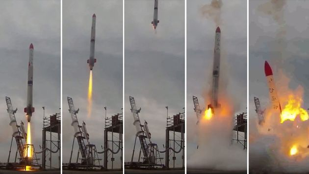 This combo of video grabs provided by Interstellars Technologies shows the failed launch of the rocket MOMO-2 in Taiki, Kokkaido prefecture, on June 30, 2018.