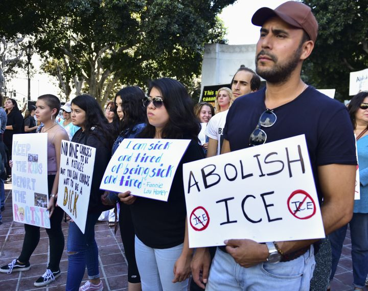 Rally signs at The Women's March LA Rally for Families Belong Together - A Day of Action at Los Angeles City Hall on June 28,