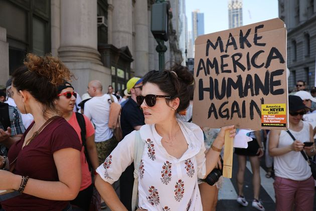 NEW YORK, NY - JUNE 30: Thousands of people march in support of families separated at the U.S.-Mexico...