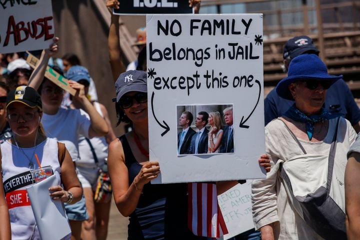 NEW YORK, NY - JUNE 30: People take part during the nationwide 'Families Belong Together' march as they walk by the Brooklyn