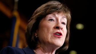 Senator Susan Collins (R-ME) speaks about the Senate Intelligence Committee findings and recommendations on threats to election infrastructure on Capitol Hill in Washington, U.S., March 20, 2018.      REUTERS/Joshua Roberts