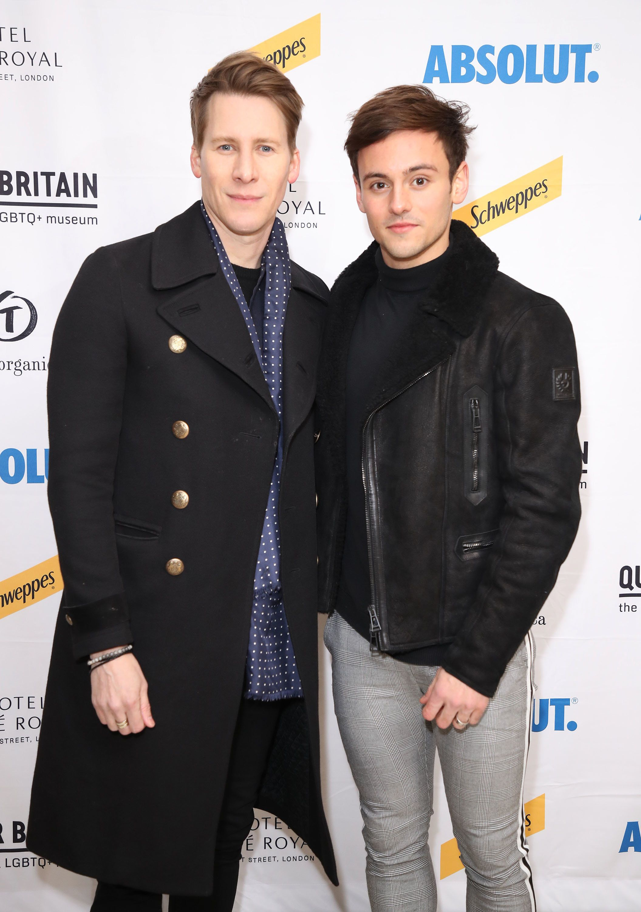 LONDON, ENGLAND - FEBRUARY 28:  Dustin Lance Black and Tom Daley attend the launch of the Queer Briain National LGBTQ+ Museum at Cafe Royal on February 28, 2018 in London, England.  (Photo by Mike Marsland/Mike Marsland/WireImage)