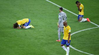 Football - Brazil v Germany - FIFA World Cup Brazil 2014 - Semi Final - Estadio Mineirao, Belo Horizonte, Brazil - 8/7/14  Brazil's David Luiz (L) and Luiz Gustavo look dejected at the end of the match  Mandatory Credit: Action Images / Lee Smith  Livepic  EDITORIAL USE ONLY.