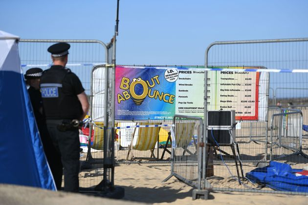 The scene on Gorleston beach in Norfolk after a young girl died after being thrown from a bouncy castle on Sunday