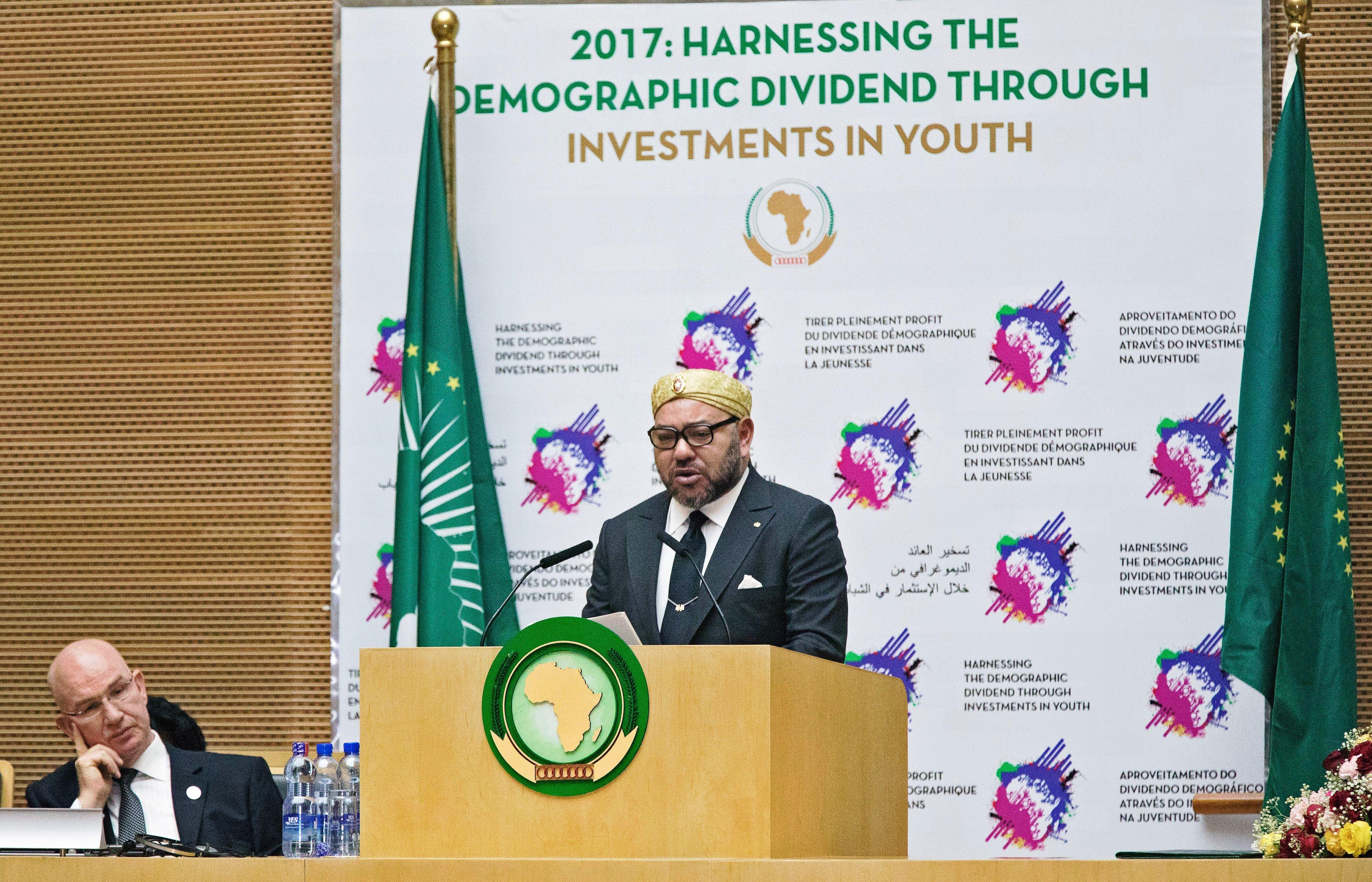 Le roi Mohammed VI lors du 28e sommet de l'Union africaine à Addis Abeba en Ethiopie, le 31 janvier