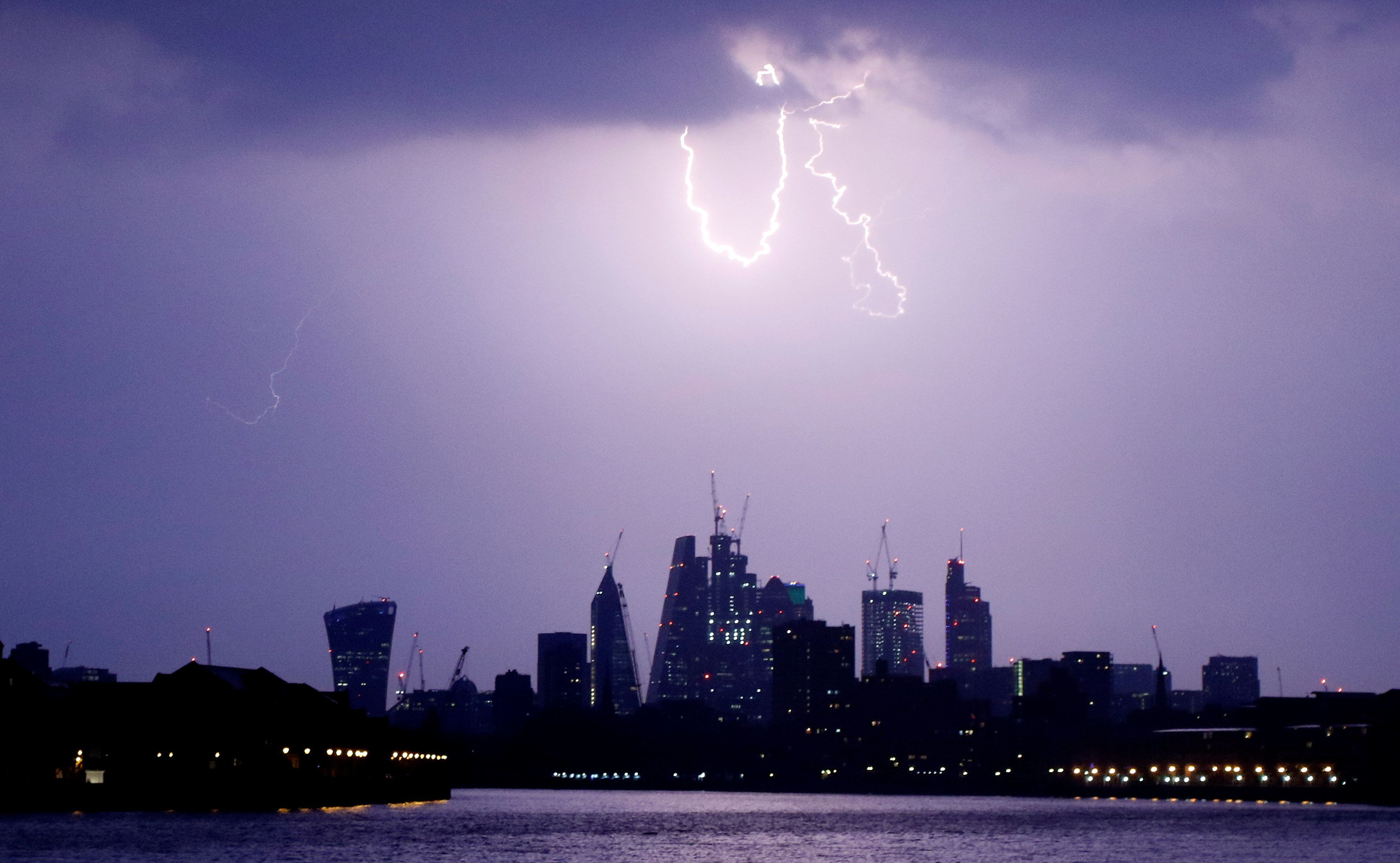 Parts of England could be hit by thunderstorms and heavy rain later today; a lightning strike over the...