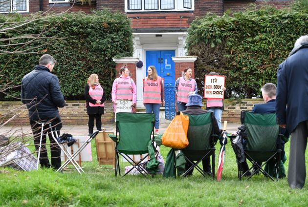 Protesters outside a Marie Stopes clinic in