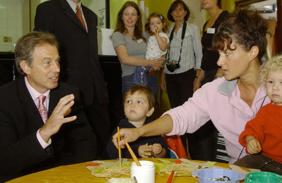 Tony Blair launches the first SureStart Children's Centre in London the