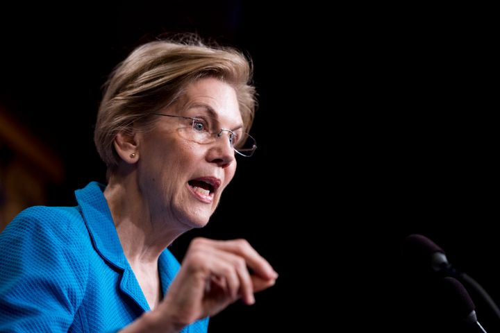 Sen. Elizabeth Warren (D-Mass.) holds a news conference in the Capitol on March 6. She is one of 10 Democratic senators who&n