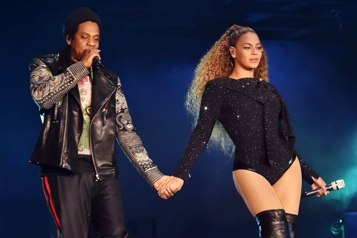 Jay-Z and Beyonce Knowles perform on stage during the 'On the Run II' tour opener in Cardiff, Wales.