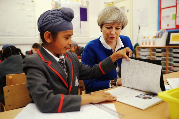 Theresa May meets pupils of Nishkam Primary School in Birmingham in