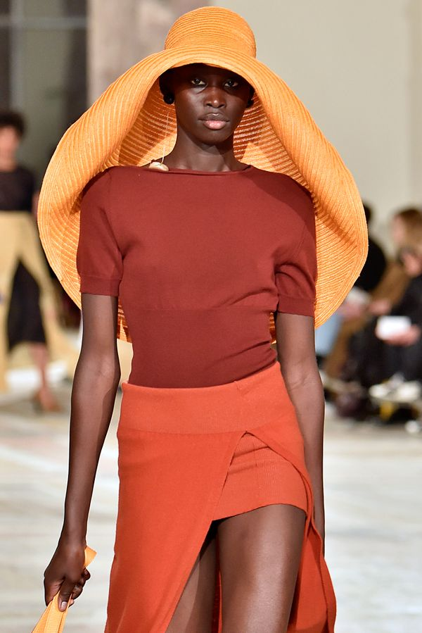 A model at the Jacquemusfall/winter 2018 fashion show in Paris.
