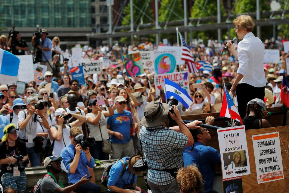 Massachusetts Sen. Elizabeth Warren calls for replacing ICE with a new agency at a rally in Boston to...