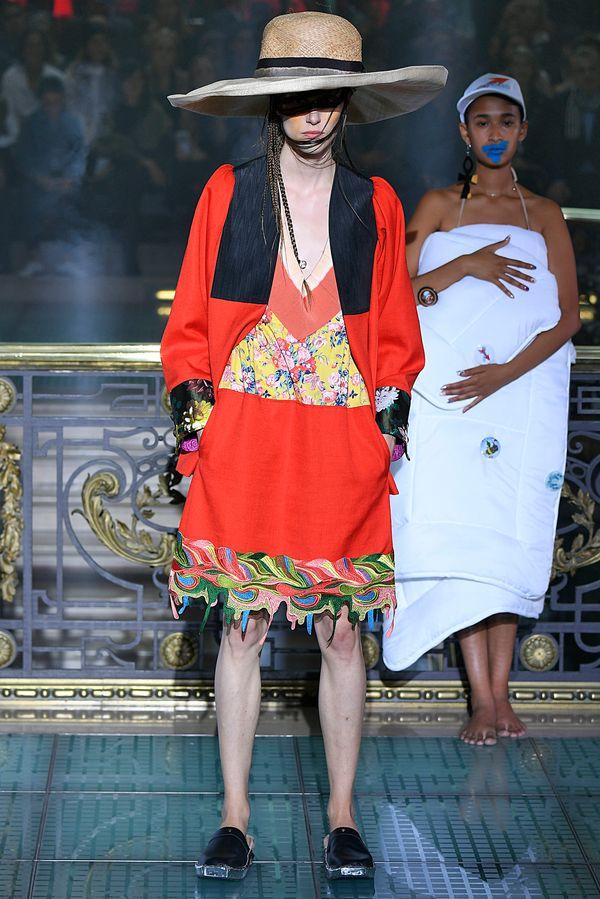 A model at the Vivienne Westwoodspring/summer2018 showin Paris.