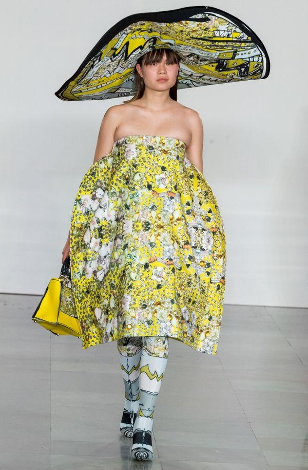 A model at the Bik Bok spring/summer 2018 runway award show during Oslo Fashion Week.