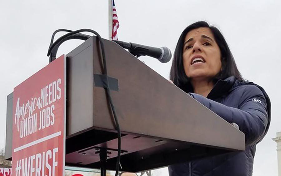 Nanda at a rally for American Federation of State, County and Municipal Employees in February.