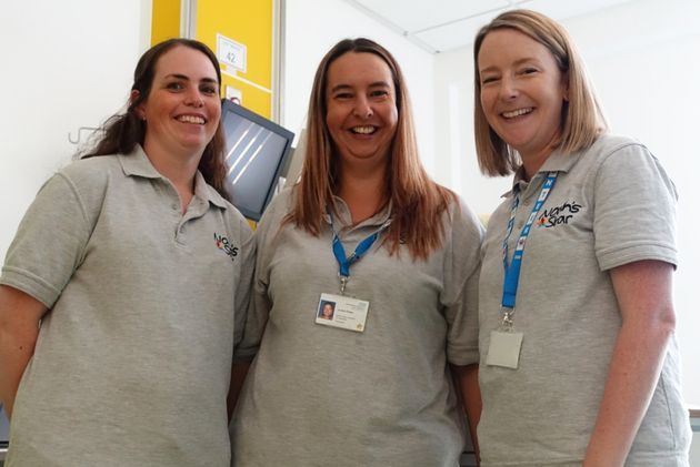 Jo Shellum (centre) with Noah's Star volunteers Gemma (left) and Katie (right).