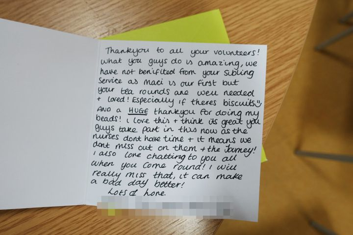 A 'thank you' card to Noah's Star volunteers from one of the mums they helped.
