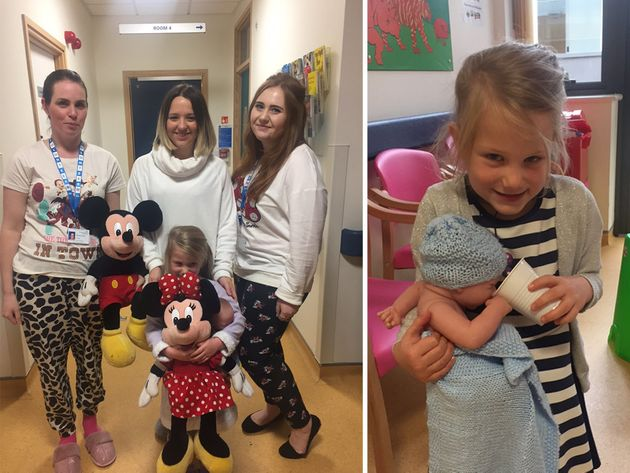 Left: Volunteers threw a Disney pyjama party with Isla. Right: Isla with baby Rupert the doll.