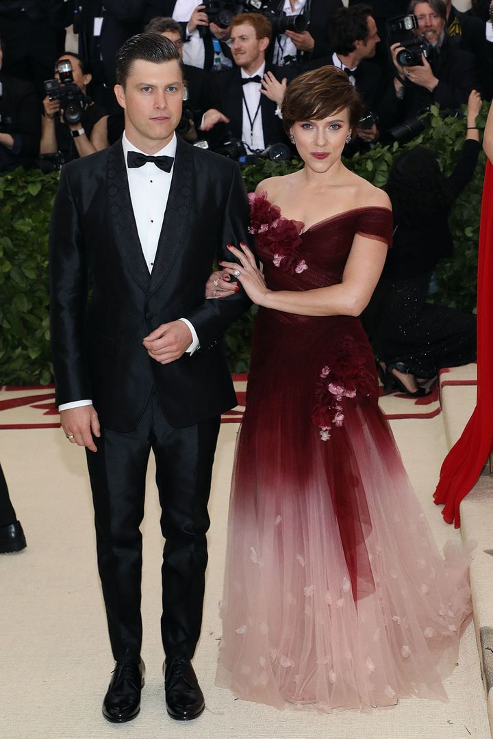 Colin Jost and Scarlett Johansson attend the Met Gala in May 2018.