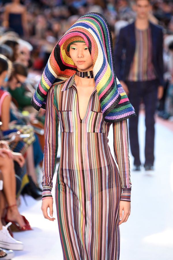 A rainbow version of the oversized hat at the Missoni spring/summer 2018 show.