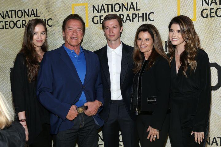 Christina Schwarzenegger, Arnold Schwarzenegger, Patrick Schwarzenegger, Maria Shriver and Katherine Schwarzenegger attend th