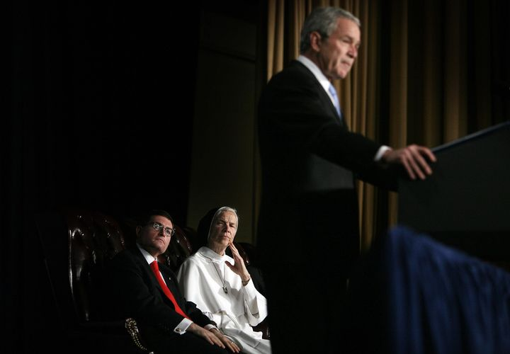 In 2007, Leonard Leo shares the stage at the National Catholic Prayer Breakfast with President George W. Bush, whom he advise