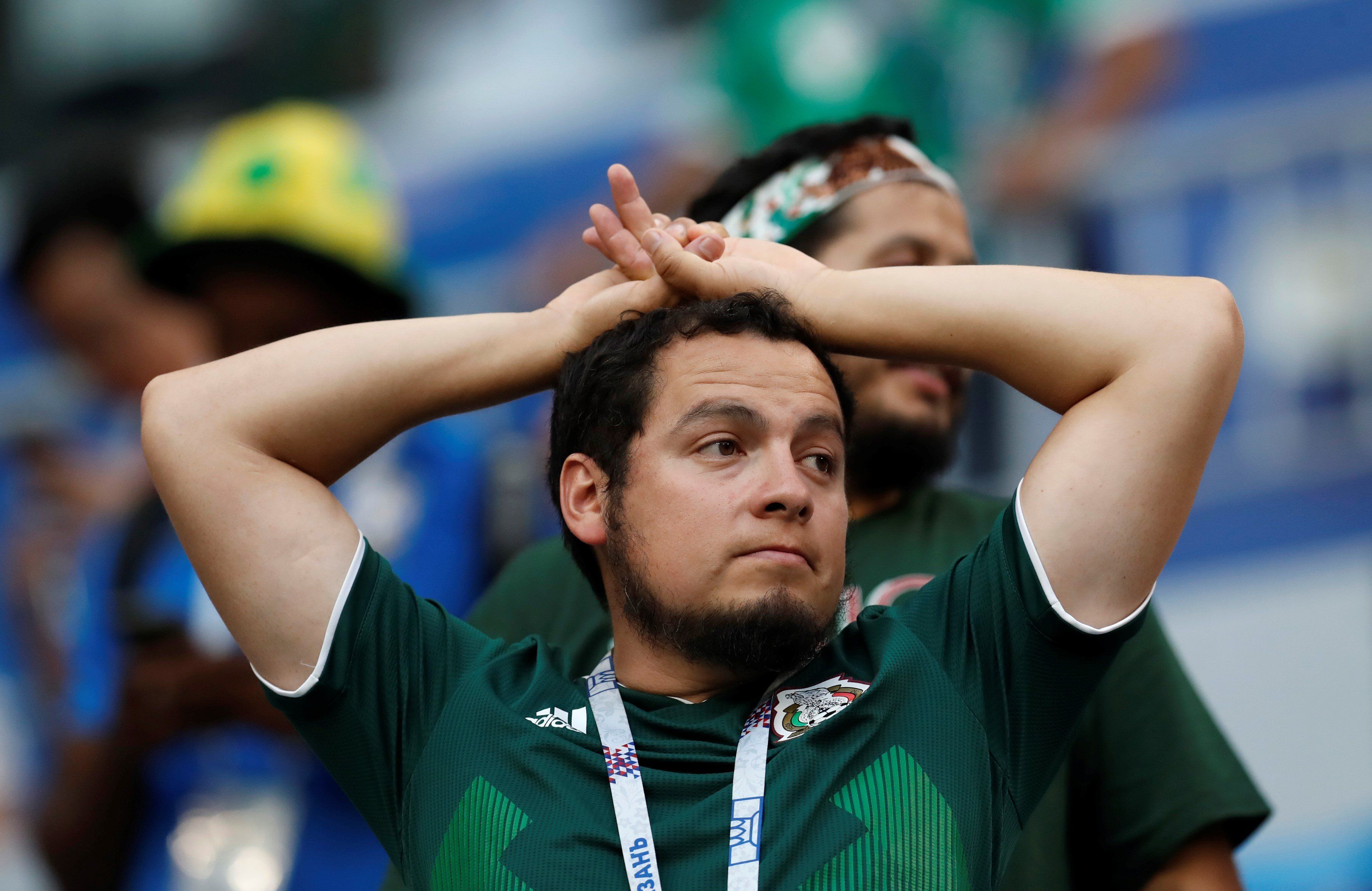 SAMARA, RUSSIA - JULY 02: A fan of Mexico gestures after Brazil wins the 2018 FIFA World Cup Russia Round of 16 match between against Mexico at the Samara Arena Stadium in Samara, Russia on July 02, 2018. (Photo by Fatih Aktas/Anadolu Agency/Getty Images)