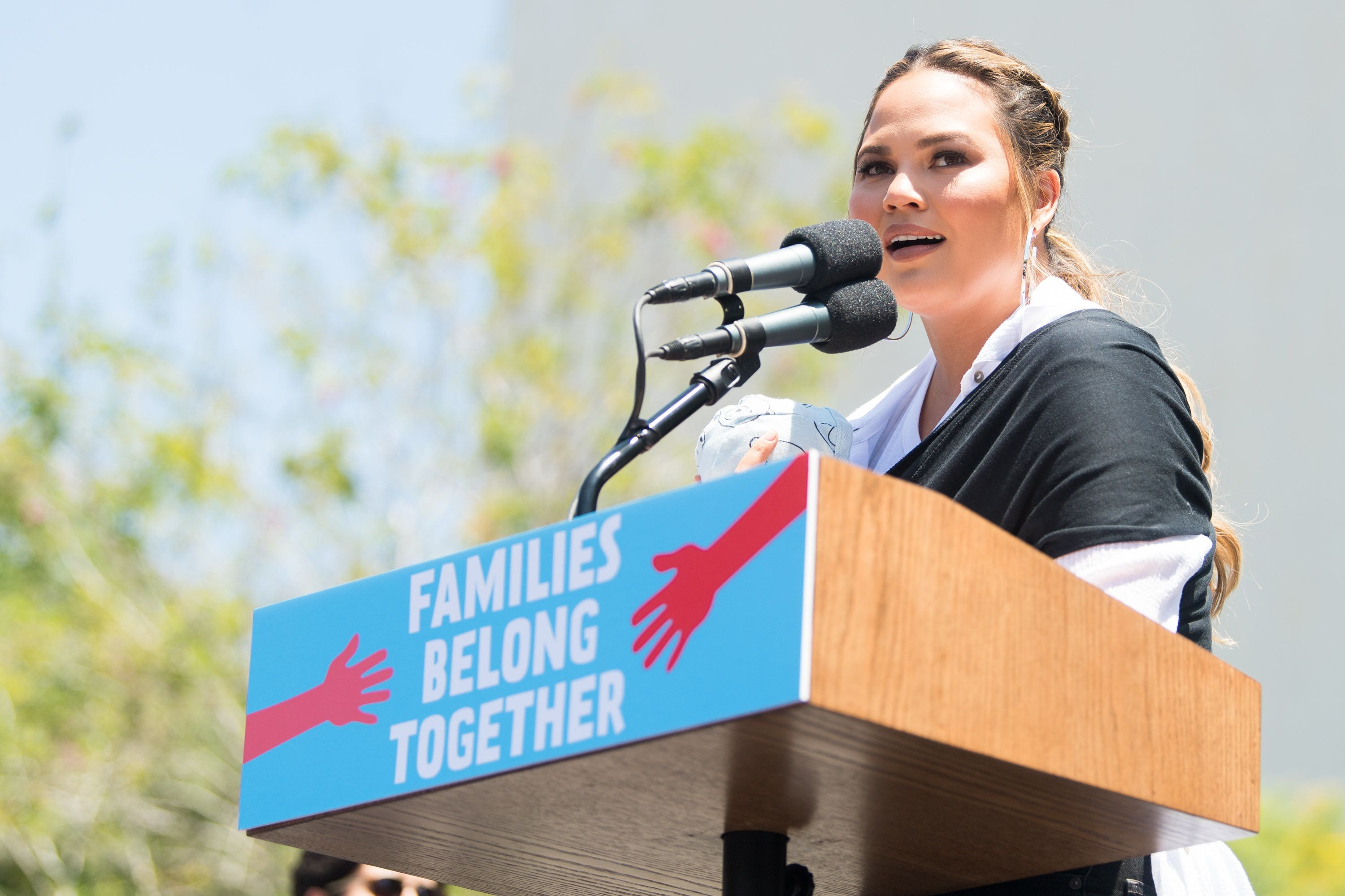 LOS ANGELES, CA - JUNE 30:  Chrissy Teigen speaks onstage at 'Families Belong Together  - Freedom for Immigrants March Los Angeles' at Los Angeles City Hall on June 30, 2018 in Los Angeles, California.  (Photo by Emma McIntyre/Getty Images for Families Belong Together LA)