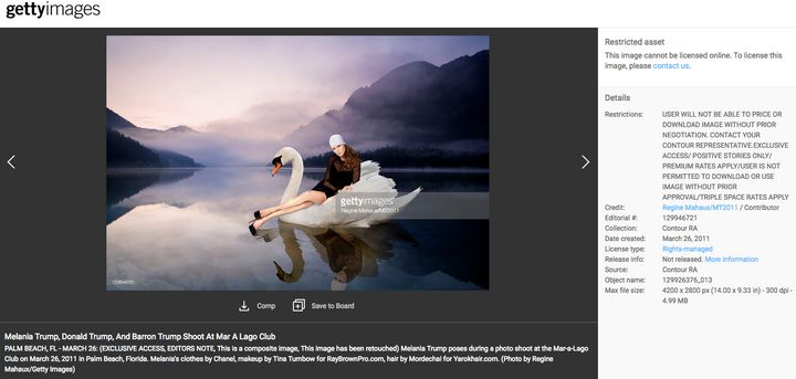 "This photo of Melania Trump on a swan may be used only in ""positive stories,"" the requirements from Getty Images stipula"