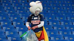 일본 응원단이 벨기에전 종료 직후 한