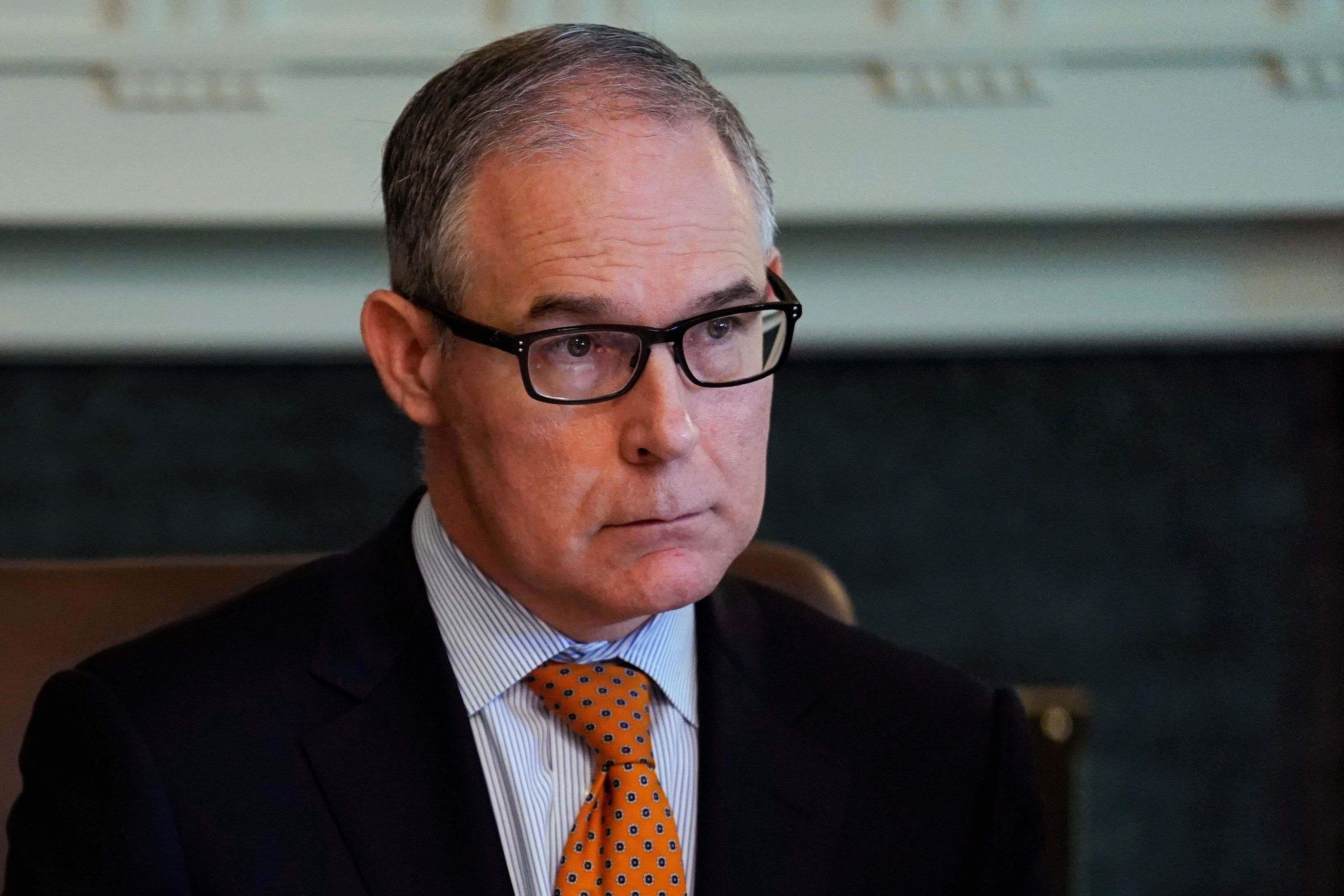 Environmental Protection Agency (EPA) Administrator Scott Pruitt attends a cabinet meeting with U.S. President Donald Trump at the White House in Washington, U.S. June 21, 2018.  REUTERS/Jonathan Ernst