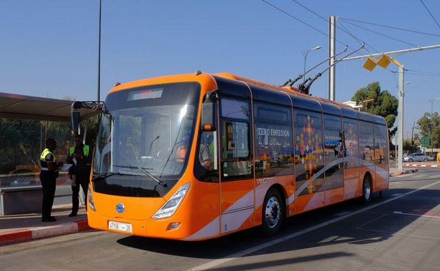 Un bus électrique de la compagnie espagnole Alsa lors d'un test à Marrakech avant le lancement...