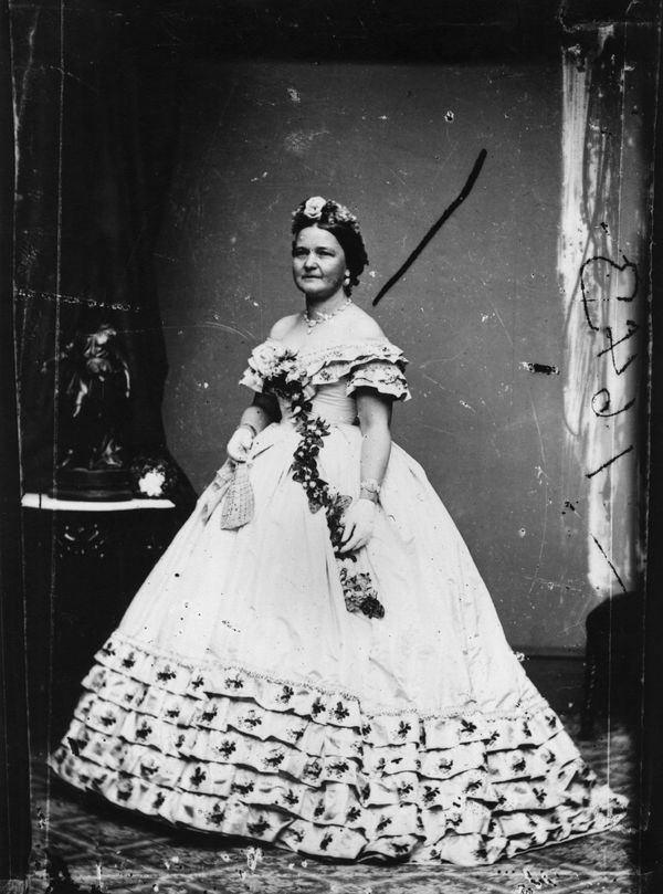 Mary Todd Lincoln dressed in a ball gown for her husband's inauguration on May 4, 1861.