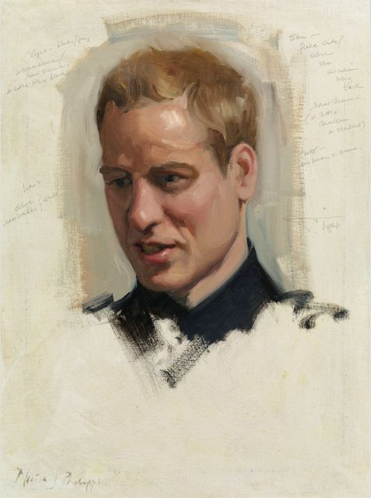 The preliminary sketch of Prince William.