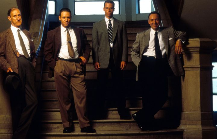 "James Cromwell, Russell Crowe, Guy Pearce and Kevin Spacey pose for a publicity photo for the 1997 film ""L.A. Confidential."""