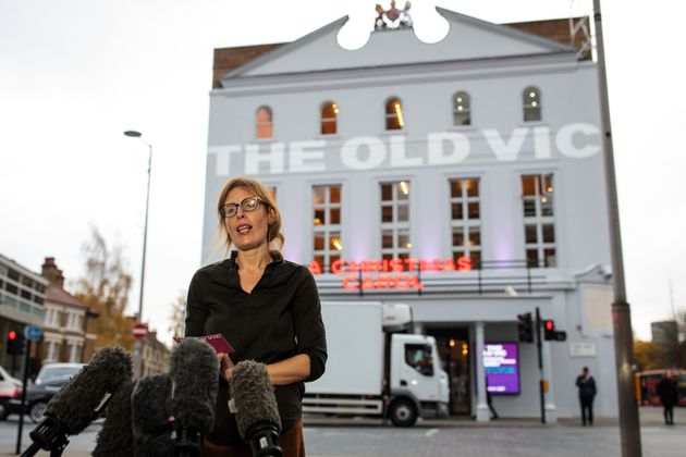 Executive Director of The Old Vic Kate Varah addresses the media outside the